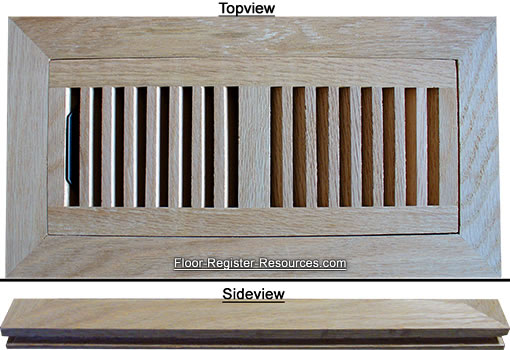 Flush Mount Wood Floor Vents - Red Oak Air Register 4 x 10 - Flush Mount Wood Floor Vents Air Register