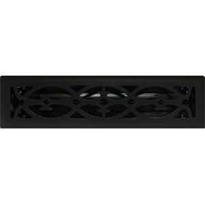 2 X 12 Victorian Floor Register - Flat Black
