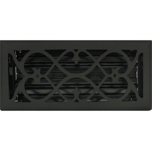 4 X 10 Victorian Floor Register - Flat Black