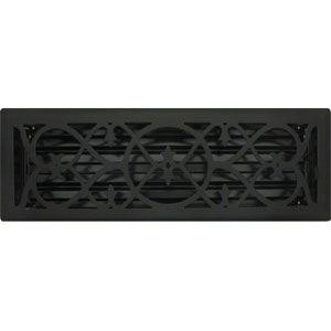 4 X 14 Victorian Floor Register - Flat Black