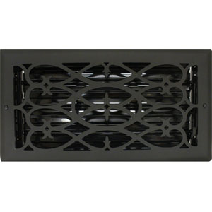 6 X 12 Victorian Floor Register - Flat Black