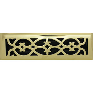 2 X 10 Victorian Floor Register - Brass Plated