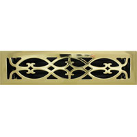 2 X 12 Victorian Floor Register - Brass Plated
