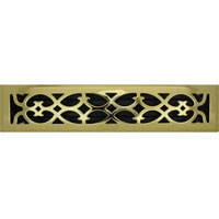2 X 14 Victorian Floor Register - Brass Plated
