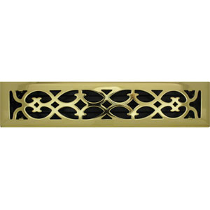 2 X 14 Victorian Floor Register Brass Plated