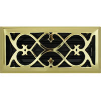 4 X 10 Victorian Floor Register - Brass Plated