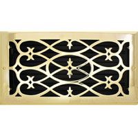 6 X 12 Victorian Floor Register - Brass Plated