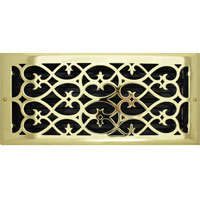 6 X 14 Victorian Floor Register - Brass Plated