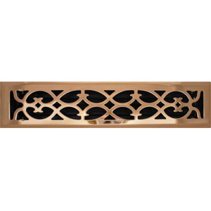 2 X 14 Victorian Floor Register - Copper