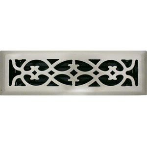2 X 10 Victorian Floor Register - Brushed Nickel