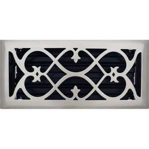 4 X 10 Victorian Floor Register - Brushed Nickel