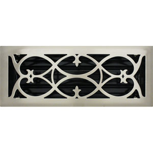 4 X 12 Victorian Floor Register - Brushed Nickel