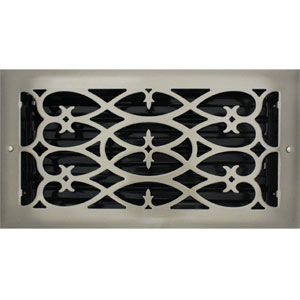 6 X 12 Victorian Floor Register - Brushed Nickel