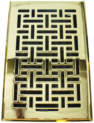 2.25x12 Wicker Polished Brass Floor Register