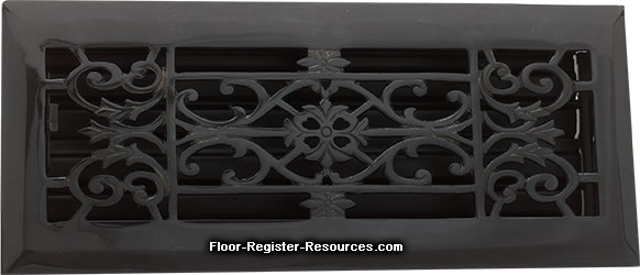 Zoroufy 2 X 12 Decorative Floor Register - Antique Black
