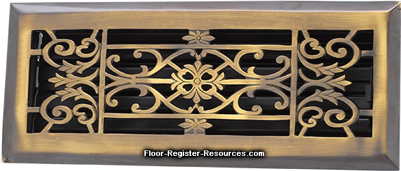 Zoroufy 4 X 14 Decorative Floor Register - Antique Brass