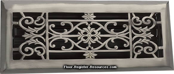 Zoroufy 4 X 10 Decorative Floor Register - Antique Pewter