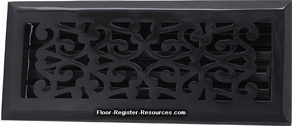 Zoroufy 4 X 10 Scroll Floor Registers - Antique Black