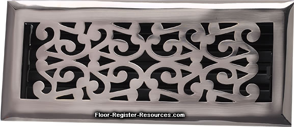 Zoroufy 4 X 10 Scroll Floor Registers - Antique Pewter