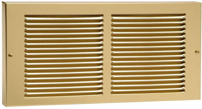 14 x 6 Stamped Steel Baseboard Return - Brass Plated