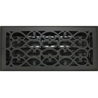 6 X 14 Victorian Floor Register - Flat Black