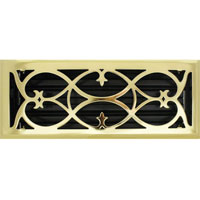 4 X 12 Victorian Floor Register - Brass Plated