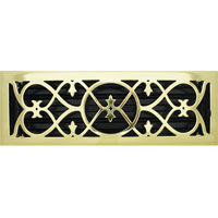 4 X 14 Victorian Floor Register - Brass Plated
