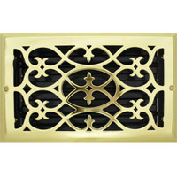 6 X 10 Victorian Floor Register - Brass Plated