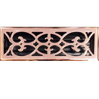 4 X 14 Victorian Floor Register - Copper